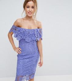 Кружевное платье-футляр с открытыми плечами и оборками Paper Dolls Petite - Синий