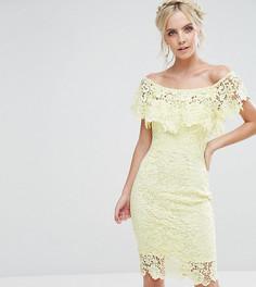 Кружевное платье-футляр с открытыми плечами и оборками Paper Dolls Petite - Желтый