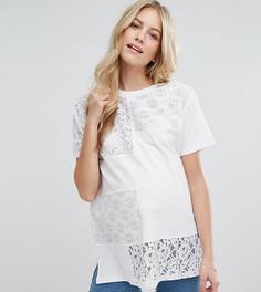 Oversize-футболка с кружевом ASOS Maternity - Белый