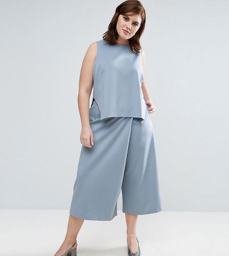 Асимметричная юбка-брюки с запахом ASOS CURVE - Синий