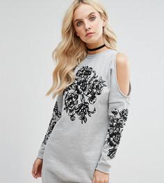 Платье-футболка с вышивкой и вырезами на плечах Miss Selfridge Petite - Серый