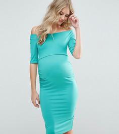 Платье для беременных с широкой горловиной ASOS Maternity - Зеленый