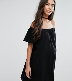 Платье мини для беременных с открытыми плечами ASOS Maternity - Черный