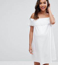 Платье с открытыми плечами и кружевом ASOS Maternity - Белый
