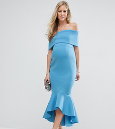 Платье миди с широким отворотом и баской ASOS Maternity PREMIUM - Синий