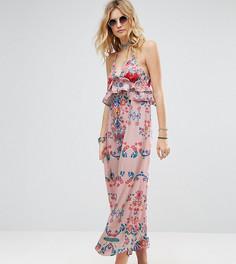 Многослойное платье макси с оборками и ярким цветочным принтом White Cove Tall - Мульти