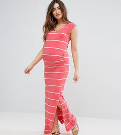 Платье макси в полоску Mamalicious - Оранжевый Mama.Licious