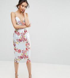 Платье-футляр миди с вышивкой и присборенной талией ASOS TALL SALON - Мульти