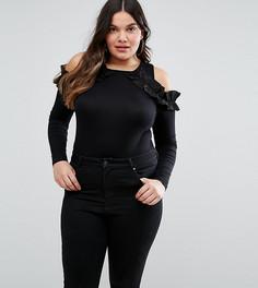 Боди с открытыми плечами и оборками ASOS CURVE - Черный