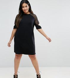 Цельнокройное платье с сетчатыми вставками и разрезами на рукавах ASOS CURVE - Черный