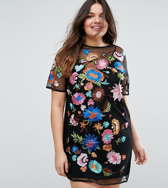 Платье-футболка мини с вышивкой ASOS CURVE - Мульти