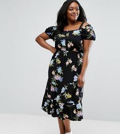 Платье миди с вырезами на плечах и цветочным принтом ASOS CURVE - Мульти