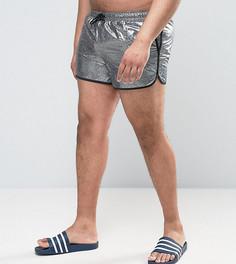 Серебристые короткие шорты для плавания с эффектом металлик ASOS PLUS Runner - Серебряный