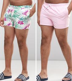 2 коротких шортов для плавания (розовые и с цветочным принтом) ASOS PLUS - СО СКИДКОЙ - Мульти