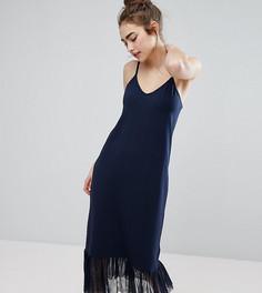 Платье на бретельках с сетчатой оборкой по краю Monki - Темно-синий