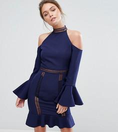 Платье с высокой горловиной, открытыми плечами и оборками Dark Pink - Темно-синий