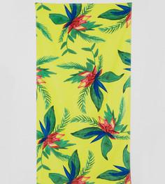 Пляжное полотенце с тропическим цветочным принтом Monki - Желтый