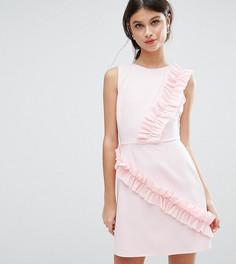 Платье мини с оборками ASOS PETITE - Розовый