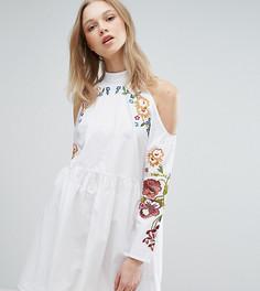 Платье с вышивкой и вырезами на плечах ASOS TALL - Белый