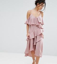 Платье макси на тонких бретельках с оборками True Decadence Petite - Розовый