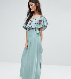 Платье макси с открытыми плечами и цветочной вышивкой Little Mistress Petite - Зеленый