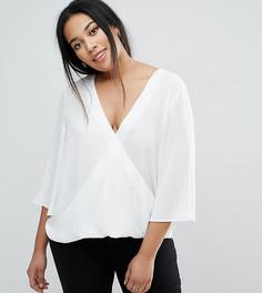 Блузка с запахом, V-образным вырезом и расклешенными рукавами ASOS CURVE - Белый