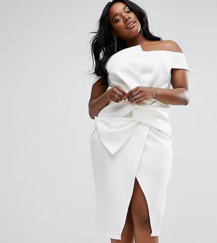 Платье миди с открытыми плечами и бантом ASOS CURVE PREMIUM - Белый