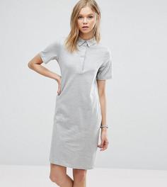 Однотонное платье-поло ASOS TALL - Серый
