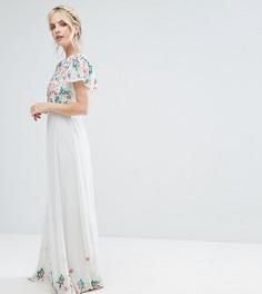 Платье макси с цветочной отделкой Frock And Frill Petite Premium - Зеленый