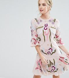 Свободное платье-премиум мини с отделкой и рукавами клеш Frock And Frill Petite - Бежевый