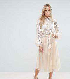 Комбинируемая плиссированная юбка миди из тюля John Zack Petite - Кремовый