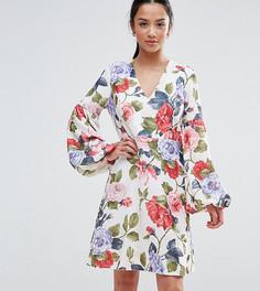 Платье мини с цветочным принтом John Zack Petite - Мульти