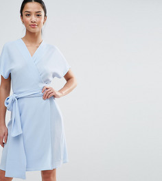 Чайное платье с запахом и крупным бантом John Zack Petite - Синий