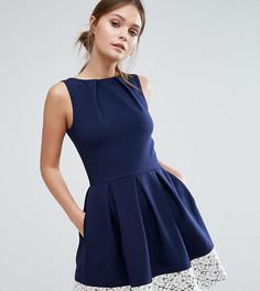 Короткое приталенное платье с кружевом по краю Closet London - Темно-синий