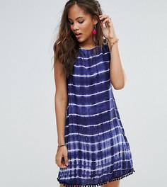 Цельнокройное платье без рукавов с принтом тай-дай и отделкой помпонами Glamorous Tall - Мульти