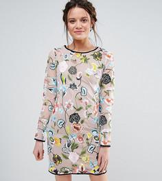 Платье с длинными рукавами и вышивкой True Decadence Tall - Мульти
