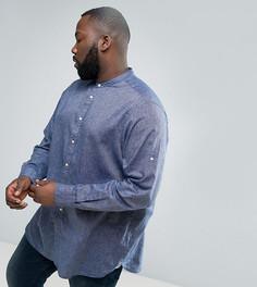 Темно-синяя рубашка без воротника из смеси хлопка и льна Tommy Hilfiger PLUS - Темно-синий