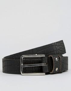 Кожаный ремень с крокодиловым рисунком Systvm - Черный