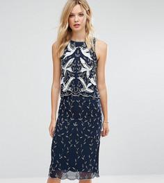 Декорированное цельнокройное платье 2 в 1 Frock And Frill Tall Premium - Темно-синий