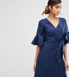 Платье-рубашка с расклешенными рукавами и запахом Closet - Темно-синий