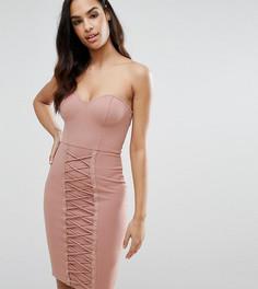 Платье миди со шнуровкой NaaNaa - Коричневый