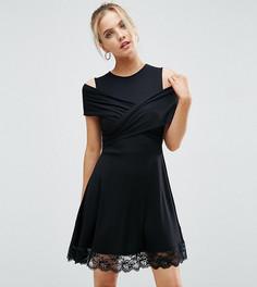 Платье мини с запахом спереди и кружевом по краю ASOS PETITE - Черный