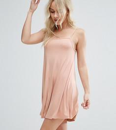 Свободное платье мини в рубчик ASOS PETITE - Бежевый
