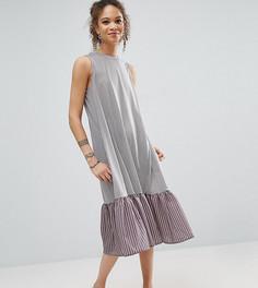 Полосатое платье миди с контрастной тканой оборкой по краю ASOS PETITE - Мульти