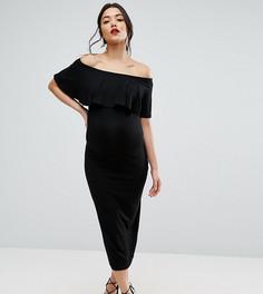 Платье-футляр миди для беременных с оборкой ASOS Maternity TALL - Черный