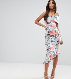 Платье миди на одно плечо с цветочным принтом и баской ASOS TALL - Розовый