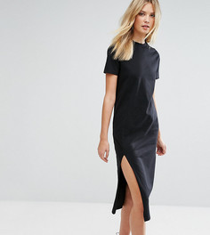 Платье-футболка миди с разрезом сбоку ASOS TALL - Черный