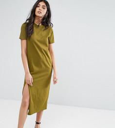 Платье-футболка миди с разрезом сбоку ASOS TALL - Зеленый
