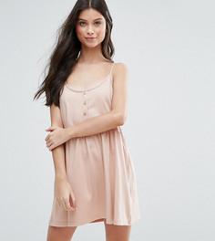 Свободное платье с планкой на пуговицах ASOS PETITE - Бежевый