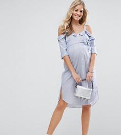 Платье-рубашка с открытыми плечами и отворотами ASOS Maternity PETITE - Синий